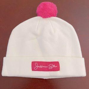 NWT Jeffrey Star white & pink beanie